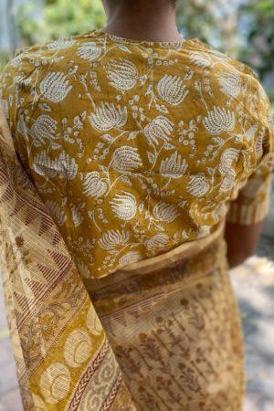 Mustard v neck cotton blouse
