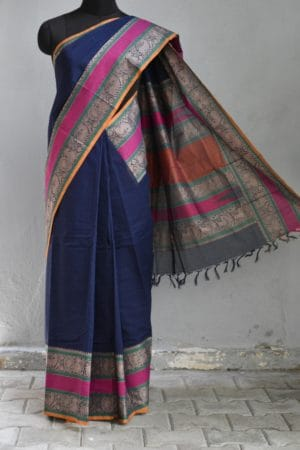 Navy blue rettai pettu kanchi cotton saree 1