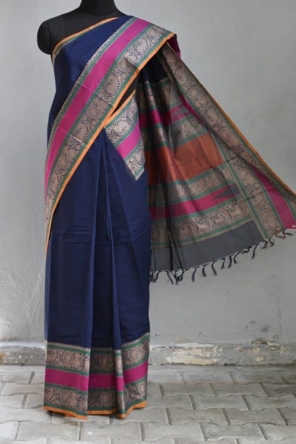 Navy blue rettai pettu kanchi cotton saree 1