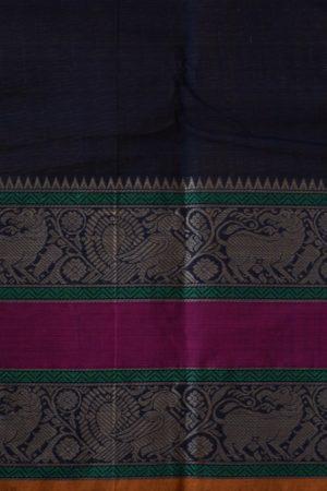 Navy blue rettai pettu kanchi cotton saree 2