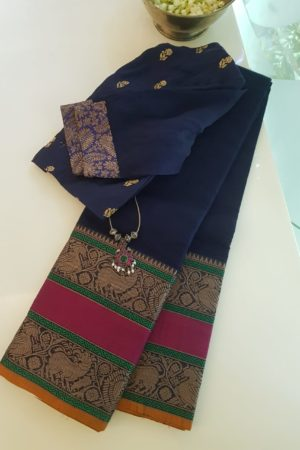 Navy blue rettai pettu kanchi cotton saree