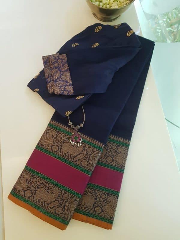 Navy blue rettai pettu kanchi cotton saree