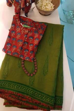Olive green Tree print kota doriya saree 1