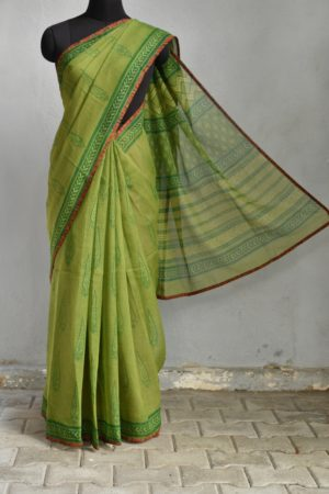 Olive green Tree print kota doriya saree