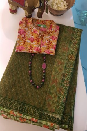 Olive green all over printed kota doriya saree 1