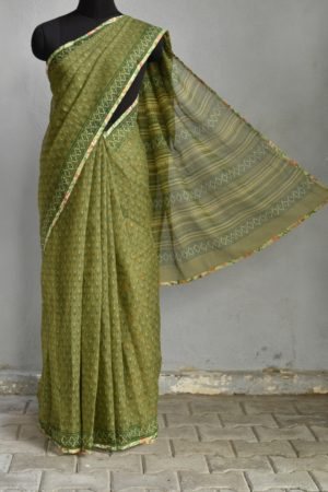 Olive green all over printed kota doriya saree