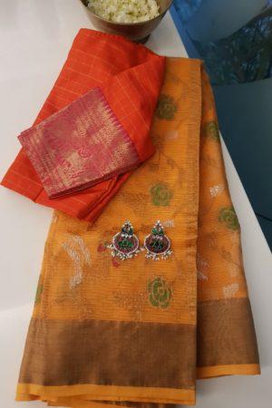 Orange real zari kota saree