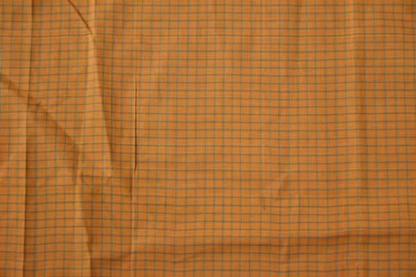 Orange green checks cotton blouse piece