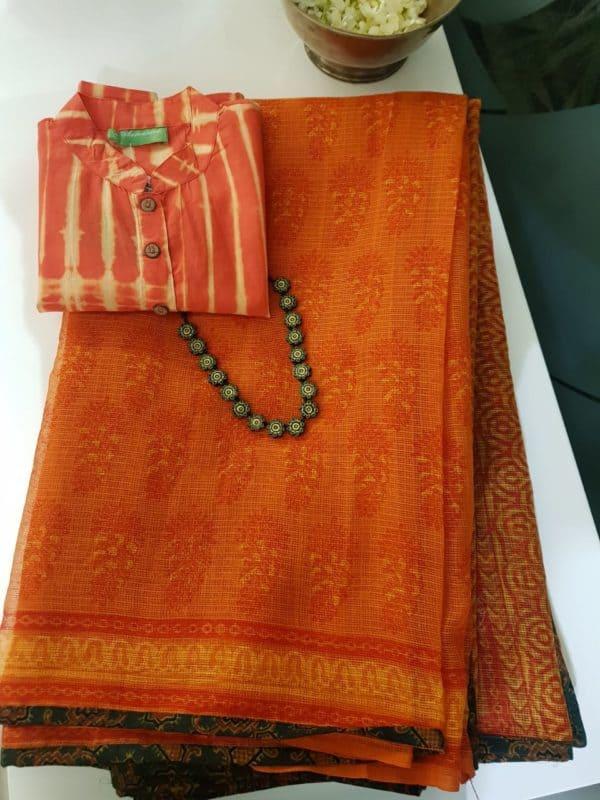 Orange printed kota doriya saree