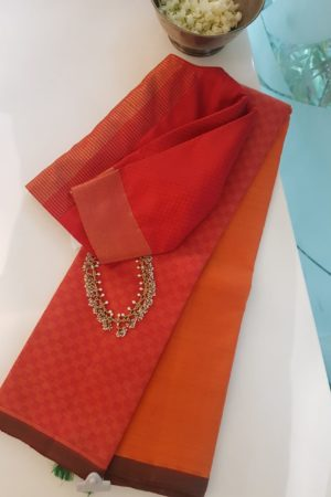 Orange red half and half mat weave kanchi silk saree 2
