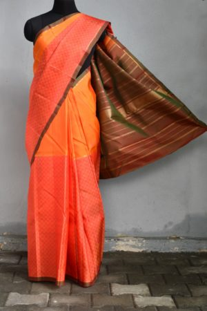 Orange red half and half mat weave kanchi silk saree