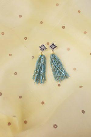 Pale blue chandelier earring