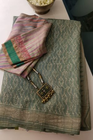 Pale green dabu printed tussar saree
