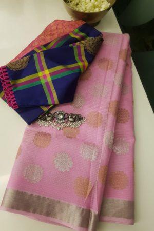 Pale pink real zari kota saree