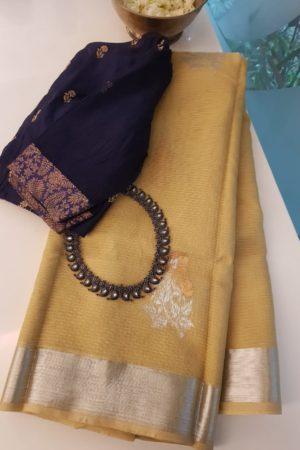 Pale yellow real zari kota saree
