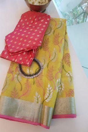 Pale yellow real zari kota saree with pink border