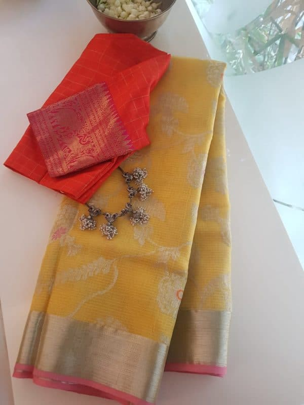 Pale yellow with pink border real zari kota saree