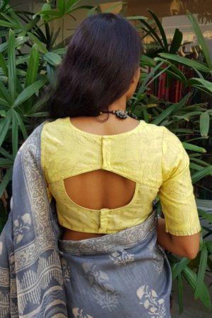 Pastel yellow chandheri blouse 2