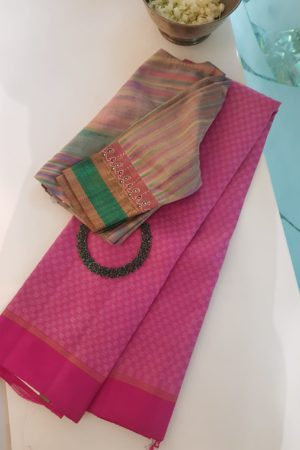 Pink cream mat weave kanchi silk saree 2