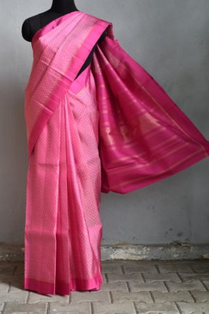 Pink cream mat weave kanchi silk saree