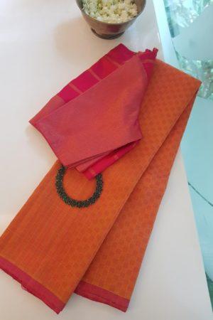 Pink mustard mat kanchi silk saree 2