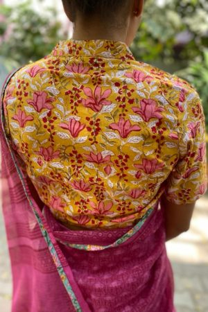 Pink yellow printed cotton blouse