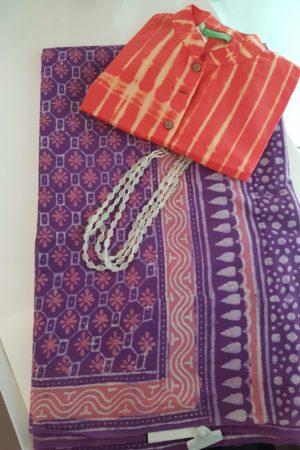 Purple flower design mul saree