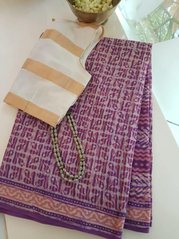 Purple leaf print mul cotton saree