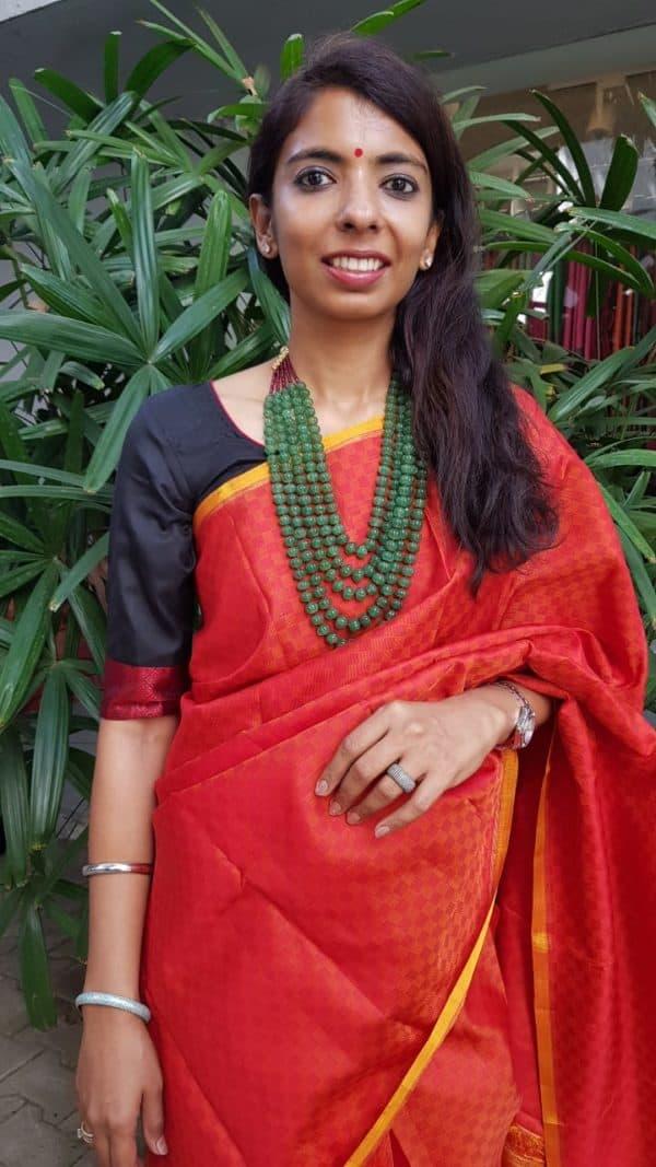 Red black silk thread weave blouse 2