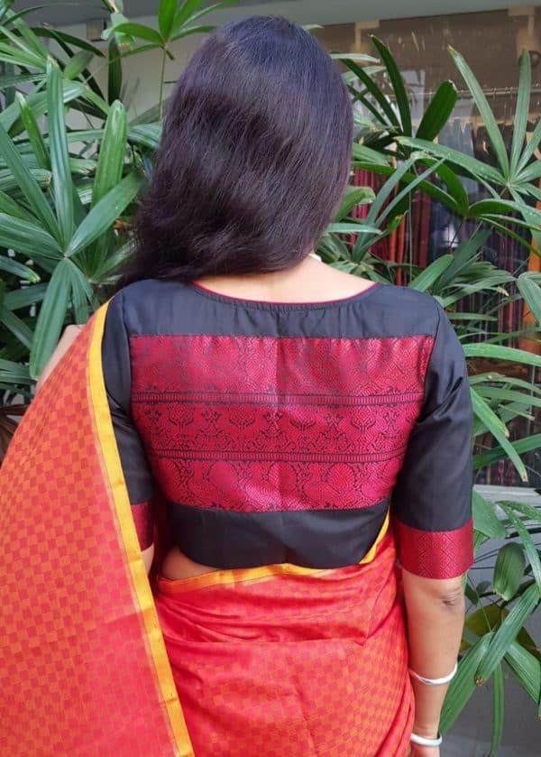 Red black silk thread weave blouse