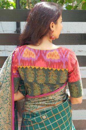 Red ikat green ajrakh cotton blouse