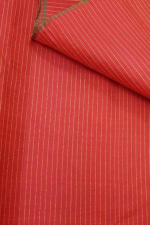 Red kanchi silk fabric with zari stripes