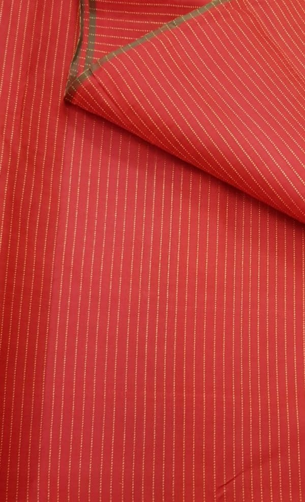 Red kanchi silk fabric with zari stripes