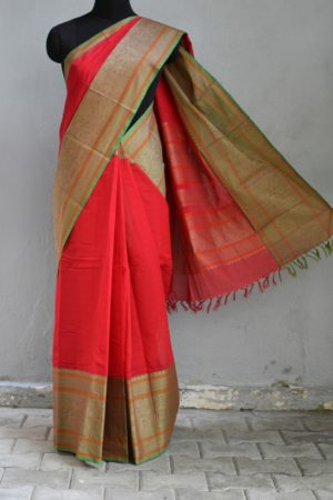Red long border kanchi cotton saree 1