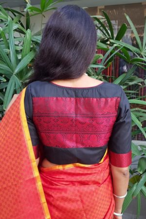 Red orange kanchi silk mat weave saree 1