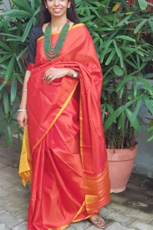 Red orange kanchi silk mat weave saree
