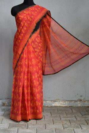 Red orange printed kota doriya saree 1