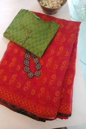 Red orange printed kota doriya saree