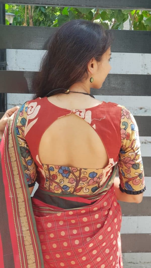 Rust dabu kalamkari chandheri silk blouse back