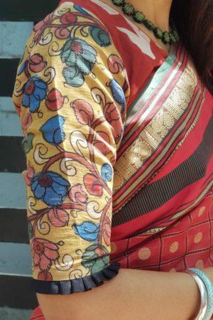 Rust dabu kalamkari chandheri silk blouse sleeve