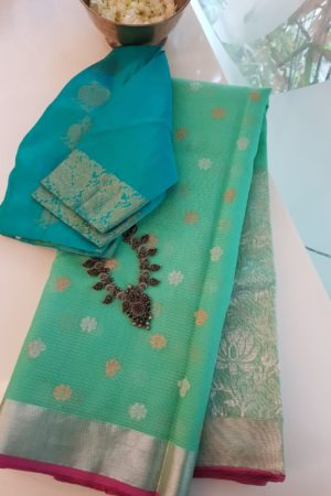 Sea green real zari kota saree