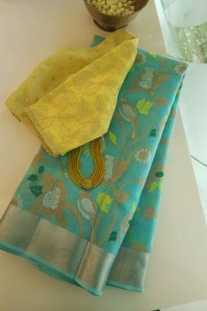 Teal green bird design real zari kota saree