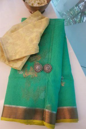 Teal green real zari kota saree