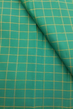 Teal green zari checks kanchi silk fabric