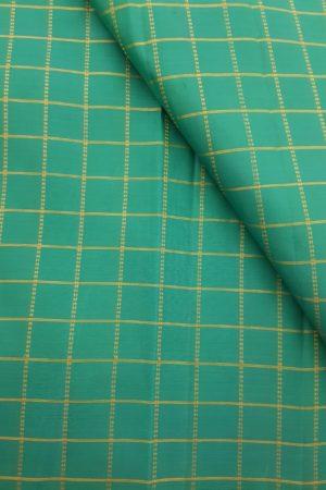 Teal green zari checks kanchi silk fabric