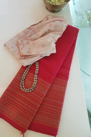 Tomato red long border kanchi cotton saree