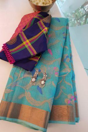 Turquoise blue real zari kota saree with meena work