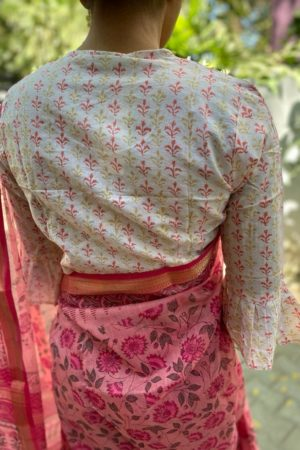 White with pink floral cotton blouse