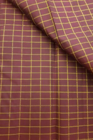 Wine checks kanchi silk fabric