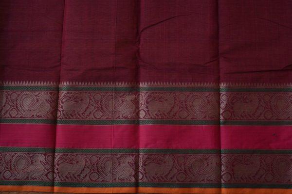 Wine rettai pettu kanchi cotton saree 2